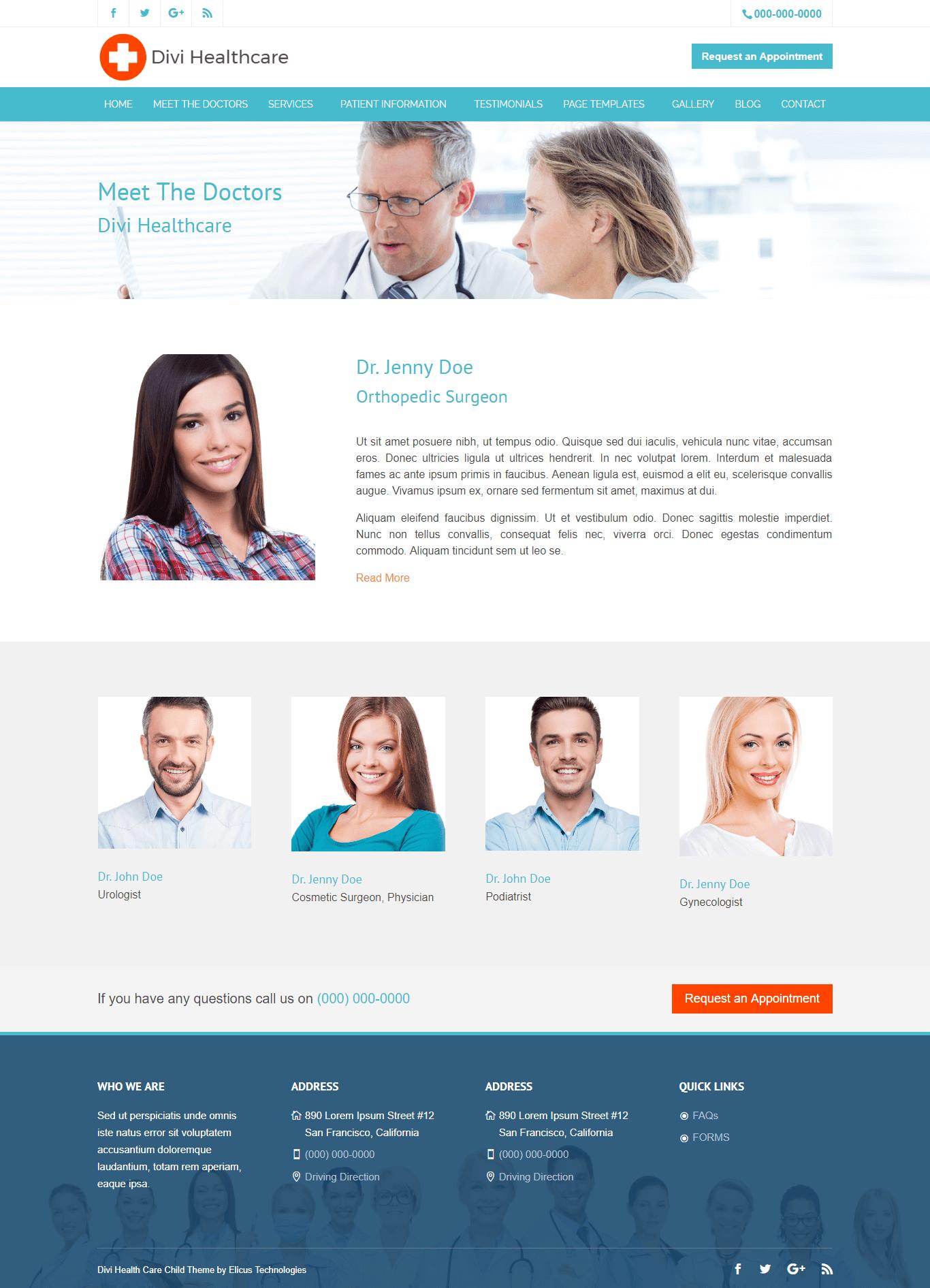 Divi Healthcare Theme All Doctors