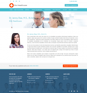 Divi Healthcare Child Theme Doctor Page