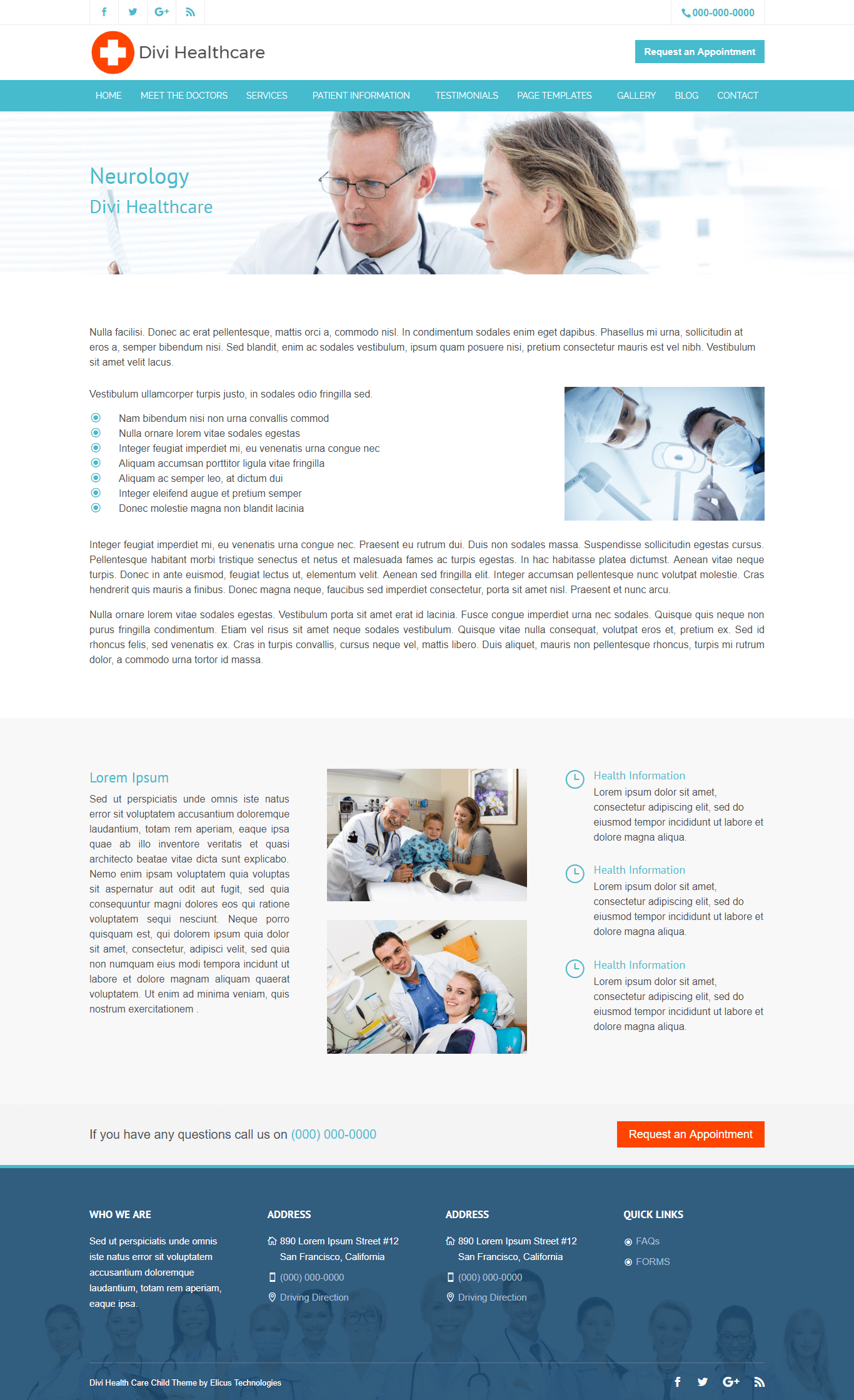 Divi Healthcare Child Theme Service Page