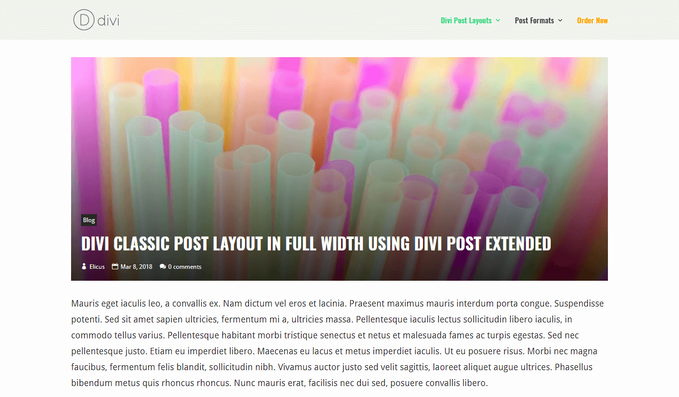 Divi Classic Post Layout