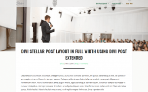 Divi Stellar Post Layout
